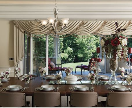 dining room table set for dinner